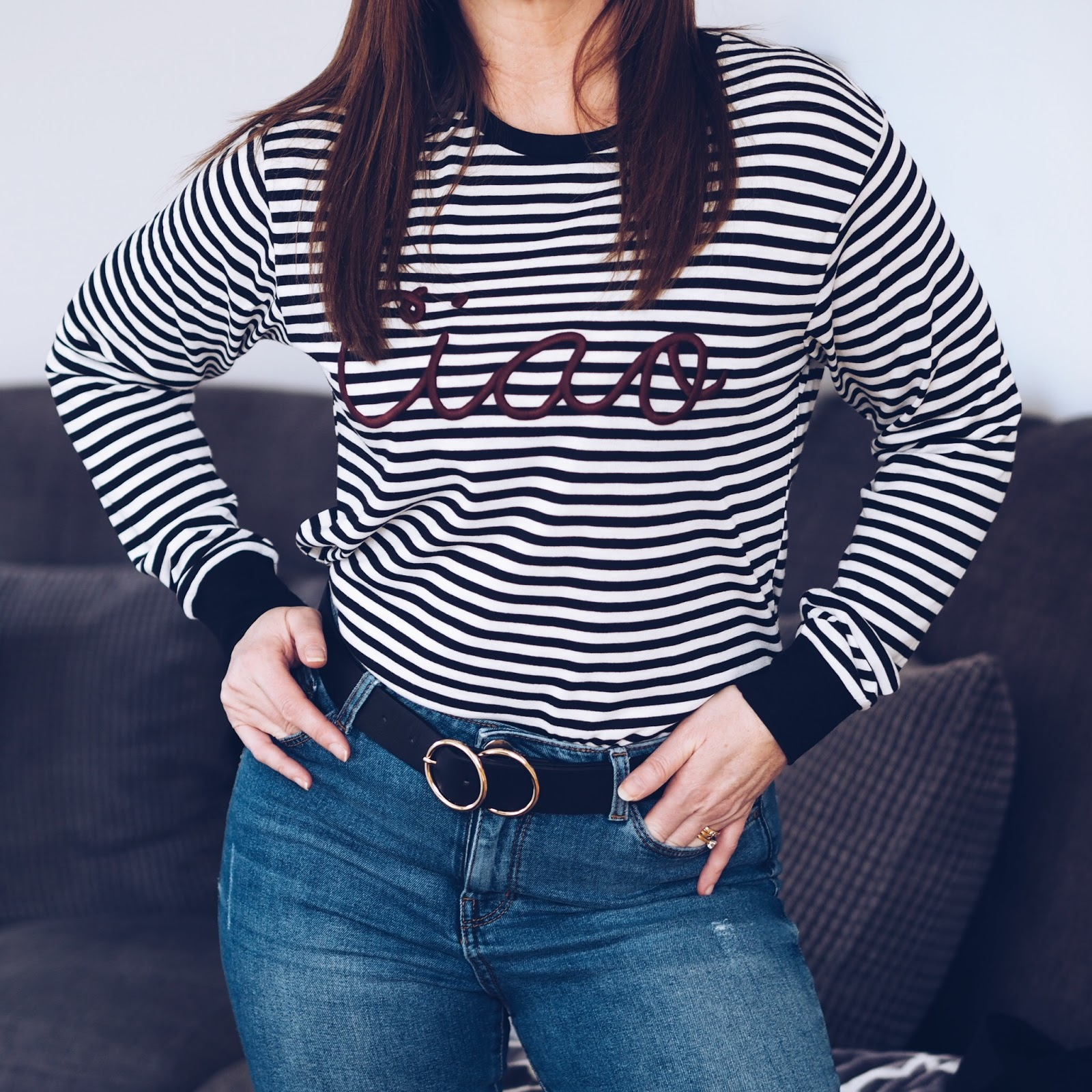 Casual look featuring Topshop ciao slogan striped long sleeved top and blazer \ River Island belt \ fashion \ style \ Priceless Life of Mine \ Over 40 lifestyle blog