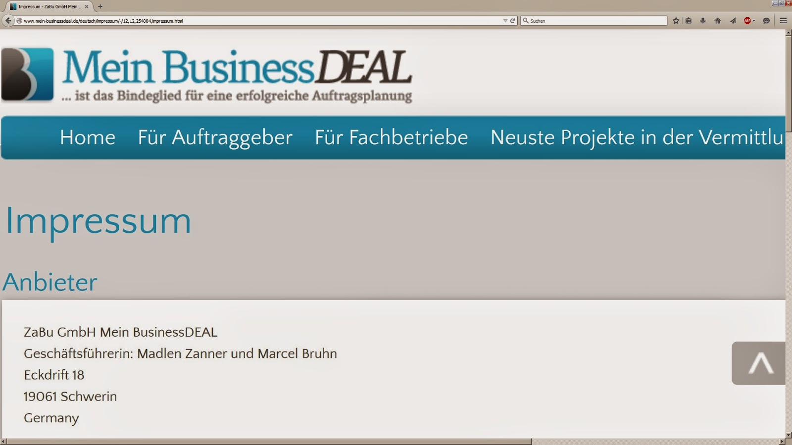 Bild von der Website Mein Business Deal