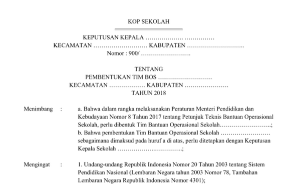 Contoh SK TIM BOS Sekolah 2018 Siap Pakai