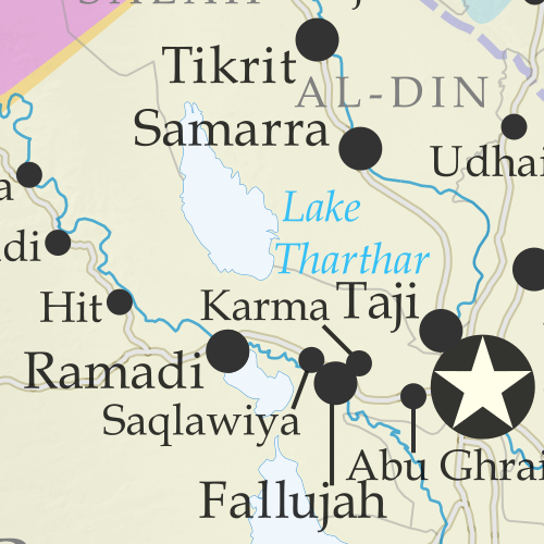 Detailed map of territorial control in Iraq as of June 30, 2016, including territory held by the so-called Islamic State (ISIS, ISIL), the Baghdad government, and the Kurdistan Peshmerga. Includes recent flashpoints such as Fallujah, Karma, Saqlawiyah, and Akashat. (color blind accessible)