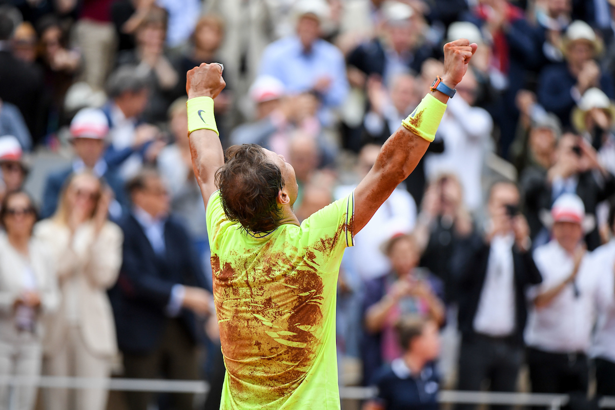 Rafael Nadal (SPA) celebrates his victory during the men Final of Roland Garros on June 9, 2019 in Paris, France.