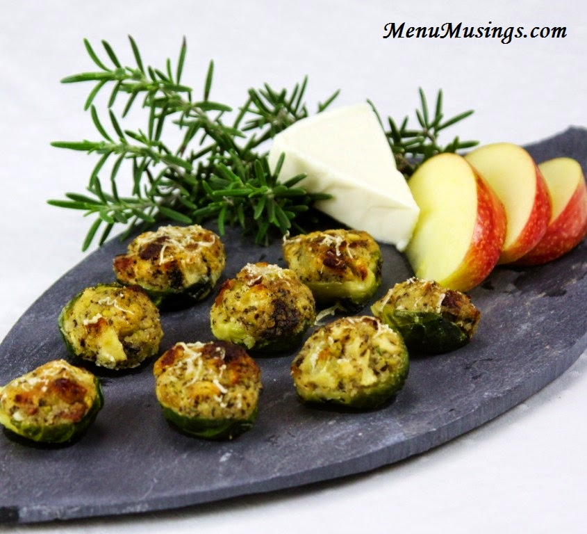 Apple and Bacon Stuffed Brussels Sprouts @ menumusings.com