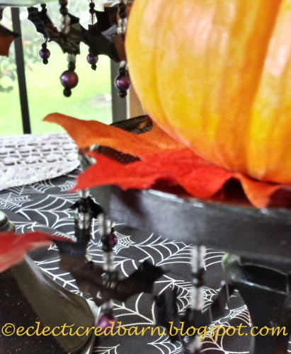 Eclectic Red Barn: Candlesticks with bat trim small pumpkins