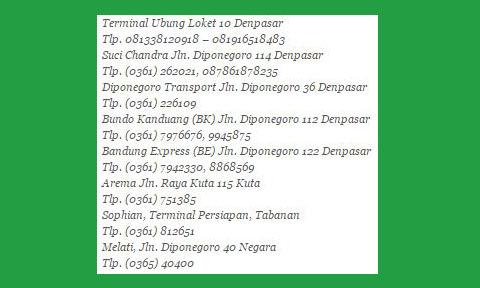 Nomor telepon Agen Bus Surya Bali di Bali