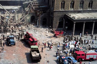 The scene outside Bologna Railway Station in the aftermath of the explosion on August 2, 1980