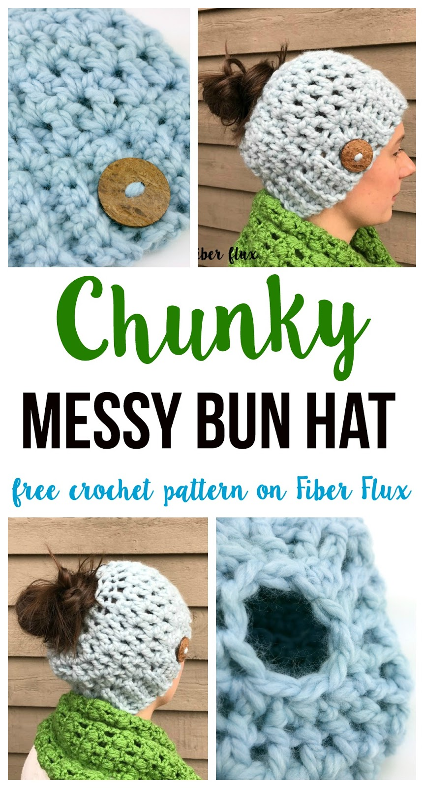 Fiber flux free crochet patternunky messy bun hat with a matching piece of yarn sew button to hat if desired as shown weave in any ends that remain dt1010fo