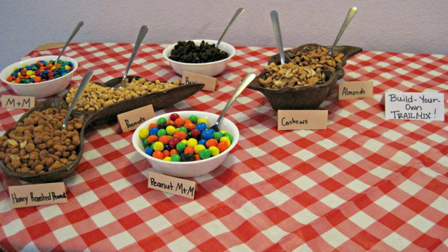 Build your own trailmix station | camper themed party camping