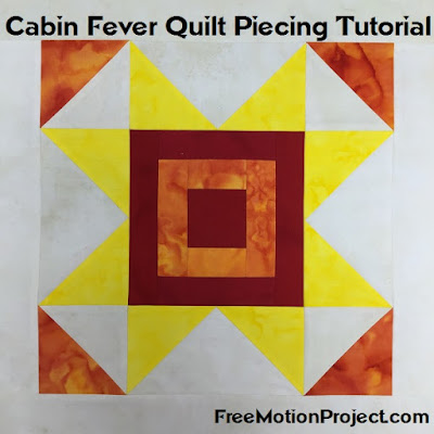Cabin Fever quilt block video tutorial with Leah Day