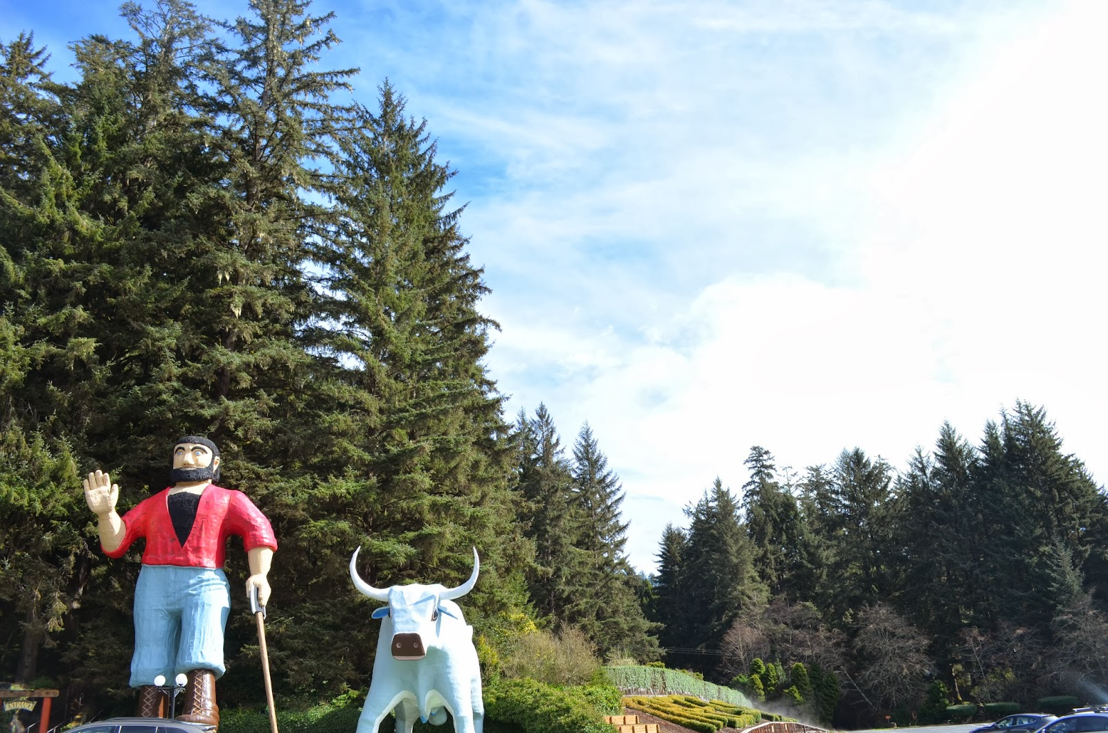 giant paul bunyan in the redwood forest