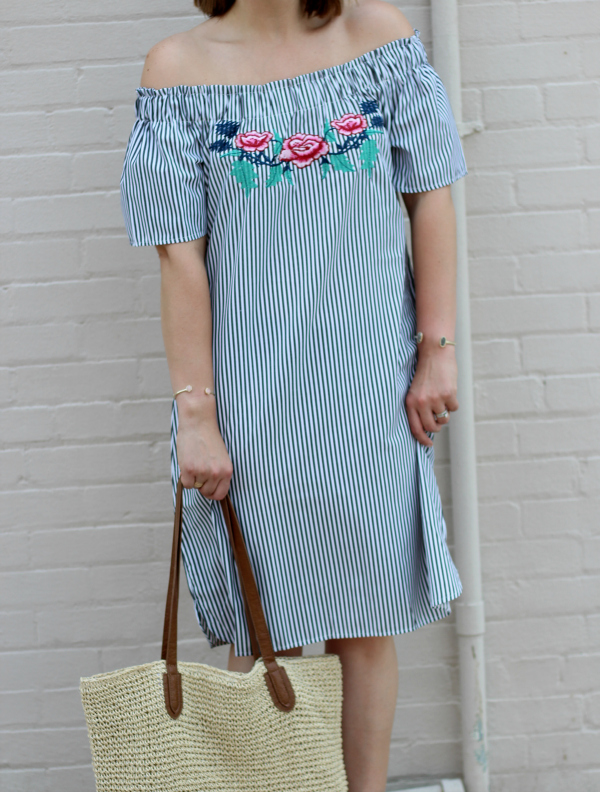 how to style an off the shoulder dress, embroidery, style on a budget, mom style