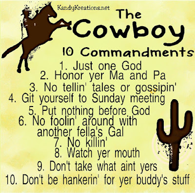 Give a gift that every cowboy will love with this printable Cowboy 10 Commandments or desk plaque.  It's a western retelling of the  ten commandments with which to rule a cowboy's life.
