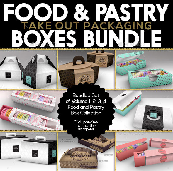 Food Pastry Boxes Mock Up Bundle