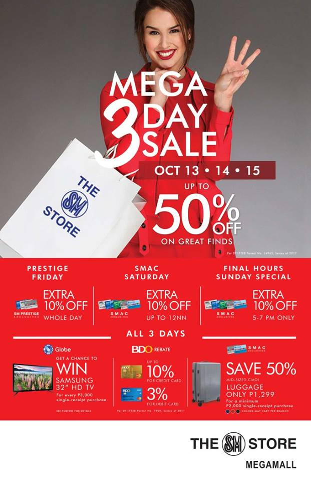 Manila Shopper Sm Malls 3 Day Sale October 13 15 2017