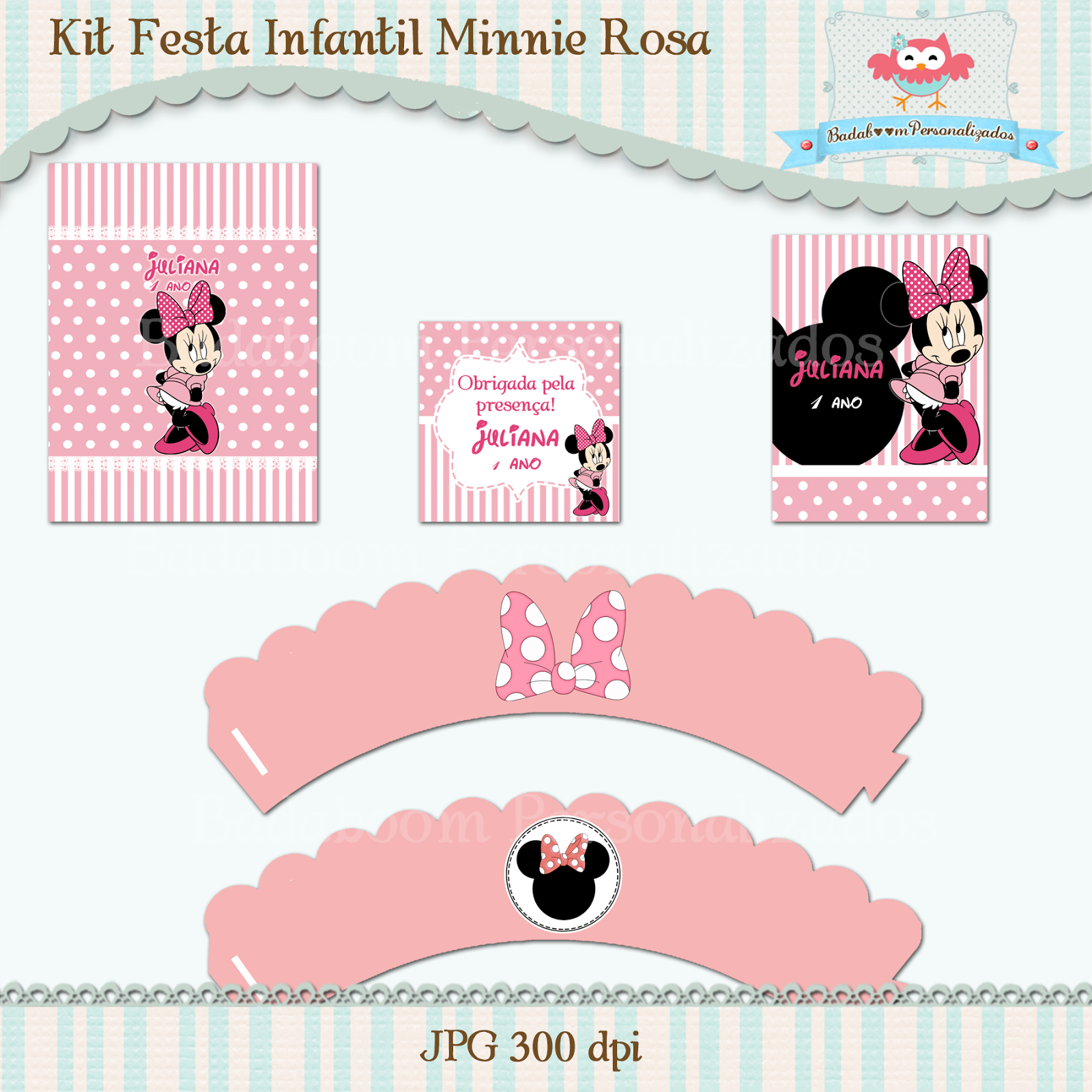 Minnie, rosa, artes digitais, arte digital, kit digital, personalizados, wrapper, saia cupcake, tubete, tag, agradecimento, bisnaga de brigadeiro, rótulos, caixinhas, latinhas, tags, convite