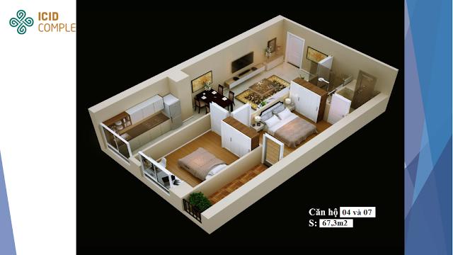 Thiết kế căn hộ 04-07 diện tích 67,3m2 ICID COMPLEX