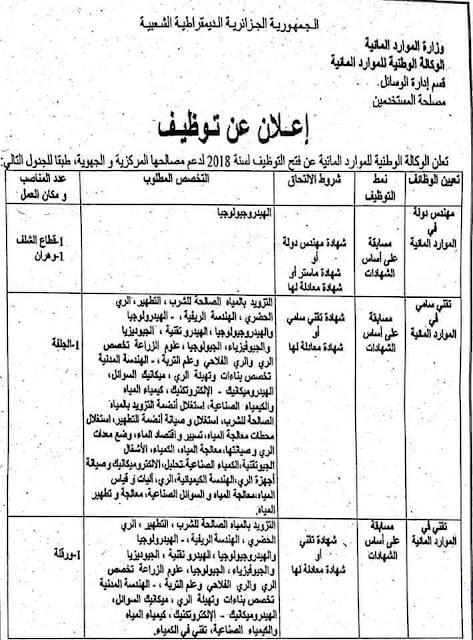 إعلان عن توظيف في وزارة الموارد المائية  -- ديسمبر 2018