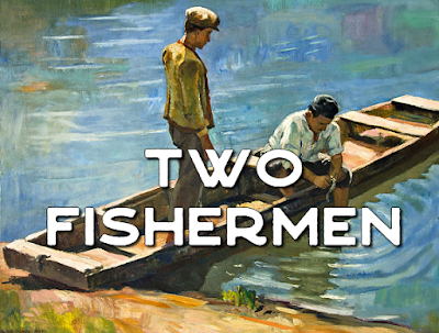 Two men in a boat - Two fishermen, who lived along The Sea of Galilee, Stood by the shore to cast their nets into an ageless sea. Now Jesus watched them from afar then called them each by name; It changed their lives, these simple men; They'd never be the same. Chorus: Leave all things you have and come and follow me, and come and follow me. 2. And as he walked along the shore 'twas James and John he'd find, And these two sons of Zebedee would leave their boats behind. Their work and all they held so dear they left beside their nets. Their names they'd heard as Jesus called; they came without regret. 3. O Simon Peter, Andrew, James, and John beloved one, You heard Christ's call to speak good news revealed to God's own Son. Susanna, Mary, Magdalene who traveled with your Lord, You ministered to him with joy for he is God adored. 4. And you, good Christians, one and all who'd follow Jesus' way, Come leave behind what keeps you bound to trappings of our day, And listen as he calls your name to come and follow near, for still he speaks in varied ways to those his call will hear.