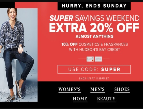 Hudson's Bay Super Savings Weekend 20% Off Promo Code