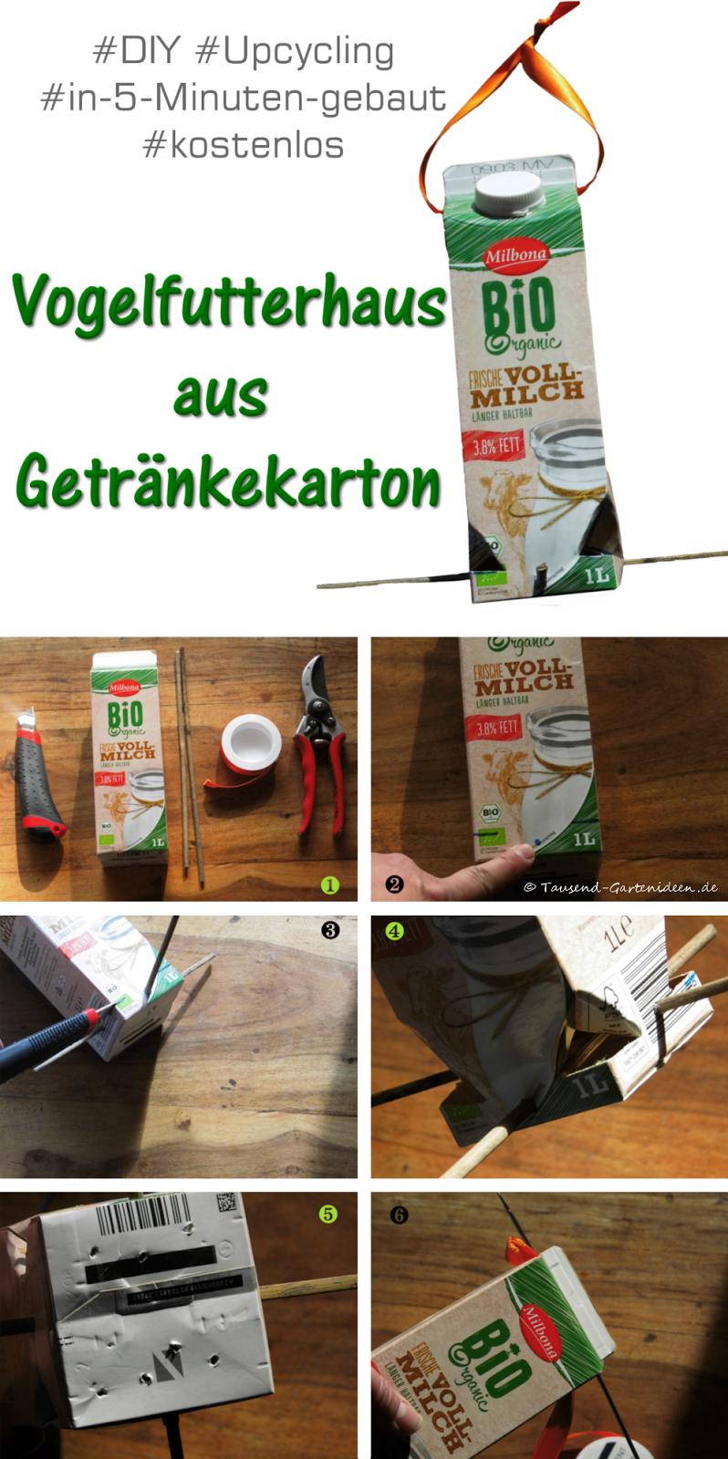Bauanleitung Vogel-Futterhaus aus Getränkekarton