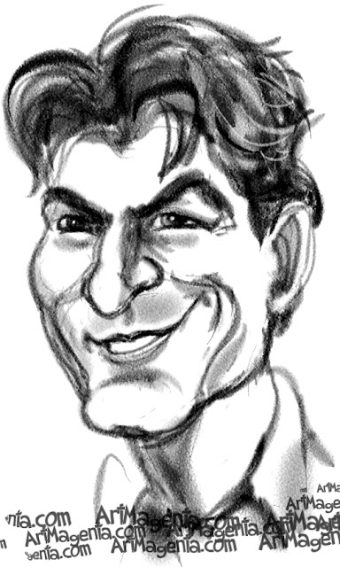 Charlie Sheen  caricature cartoon. Portrait drawing by caricaturist Artmagenta.