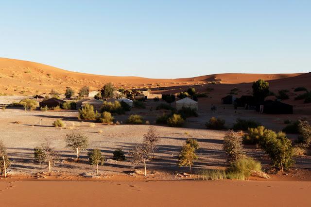 Vista general del campamento de lujo Auberge Café du sud
