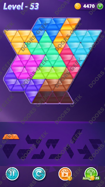 Block! Triangle Puzzle Challenger Level 53 Solution, Cheats, Walkthrough for Android, iPhone, iPad and iPod