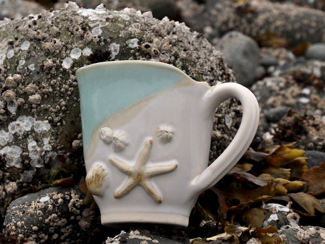 Mussels n more Pottery mug, a day at the Beach gift set, The Camellia
