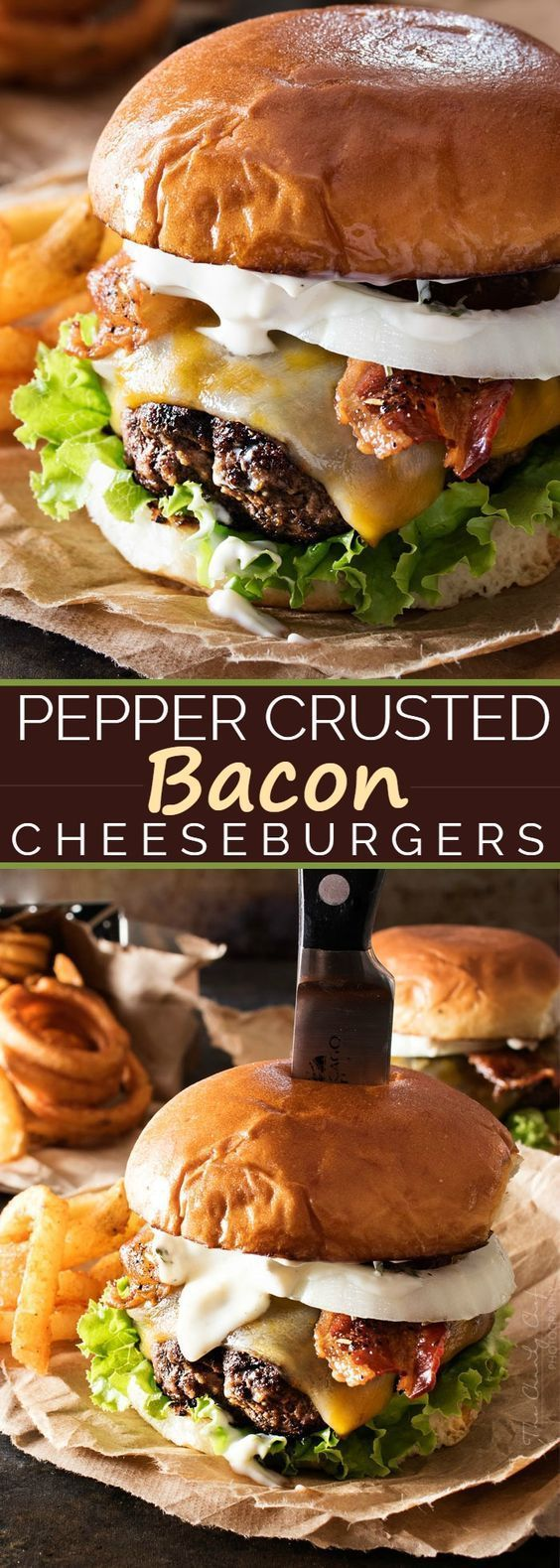 Pepper Crusted Bacon Cheeseburgers Recipe