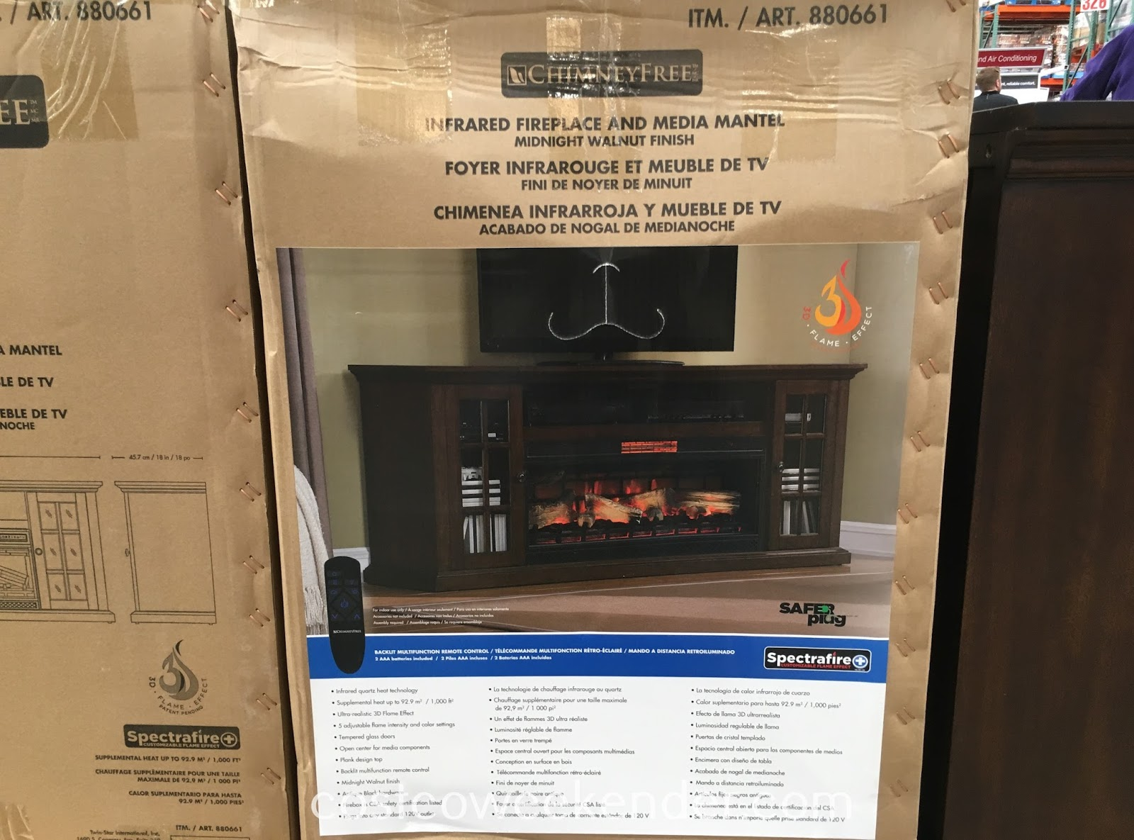 Costco 880661 - Tresanti Infrared Fireplace and Media Console - The dual purpose heater and entertainment system