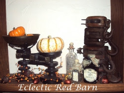 Fall Arrangement with vintage scale, wooden pulley, Potion Bottles