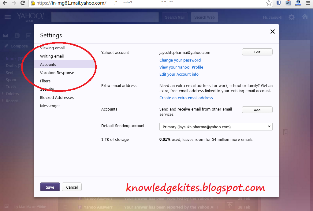 Forward Yahoo mail in your Gmail mail account - inbox 1