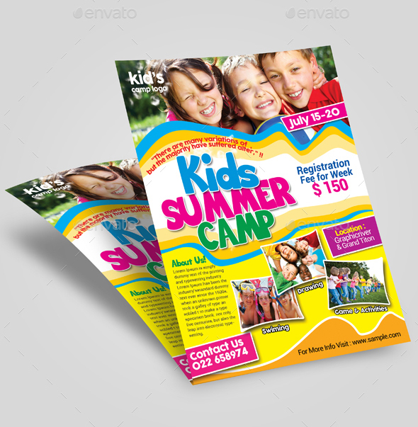 summer ,camp, flyer, creative, design, free, best