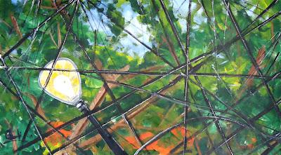 Clameli, Poste com árvore, acrílico sobre tela