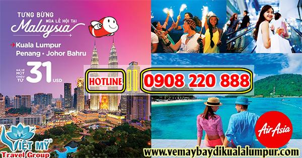 Air Asia khuyến mãi mùa lễ hội đi Malaysia giá chỉ từ 31 USD