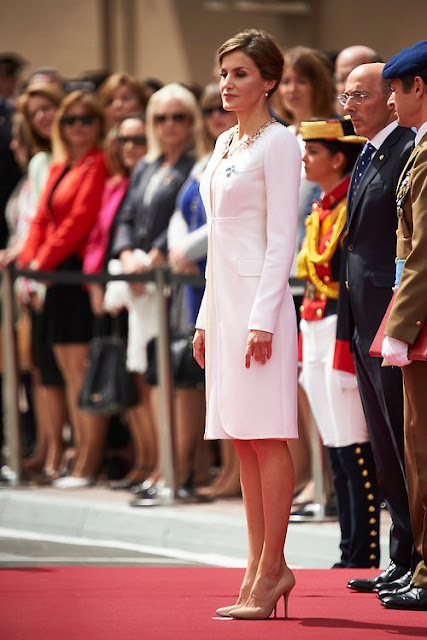 Queen Letizia of Spain attends a ceremony held in honour of the Spanish Guardia Civil at their headquarters, in Vitoria