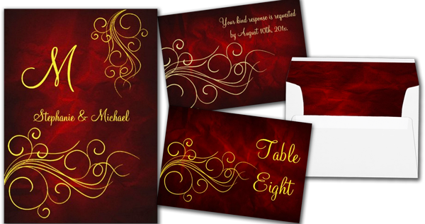 wedding cards and gifts elegant red gold monogram wedding