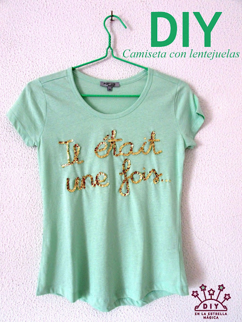 DIY fácil customiza una camiseta con una frase en lentejuelas
