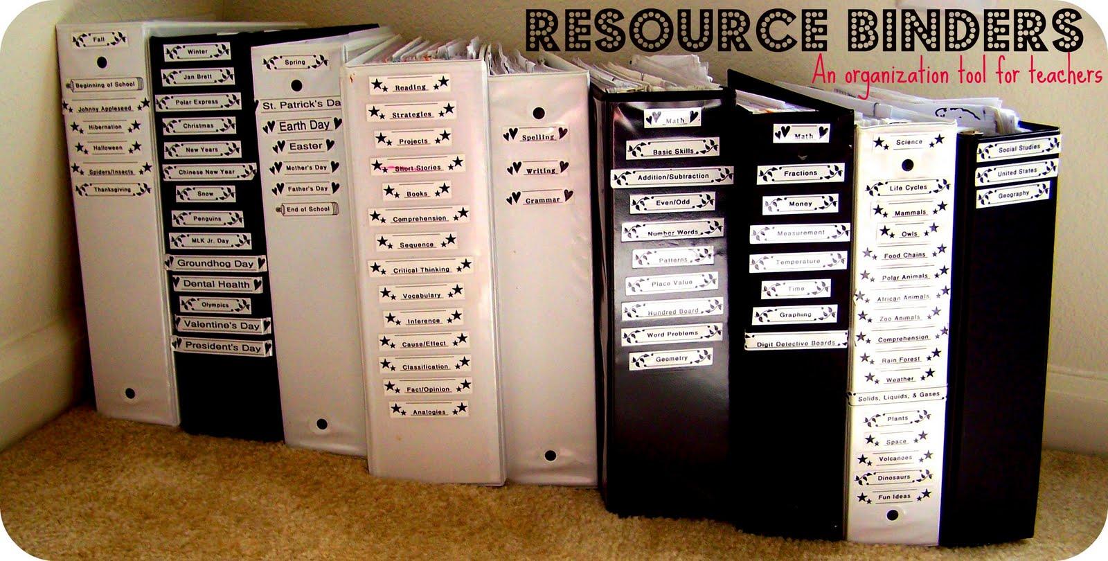 Primary Junction Resource Binders An Organization Tool