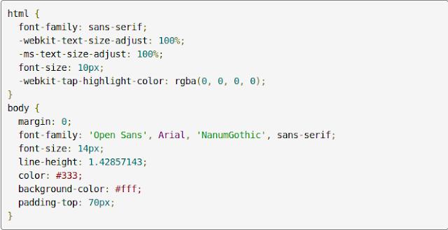 Tampilan kode CSS yang telah diwarnai oleh Google Prettify