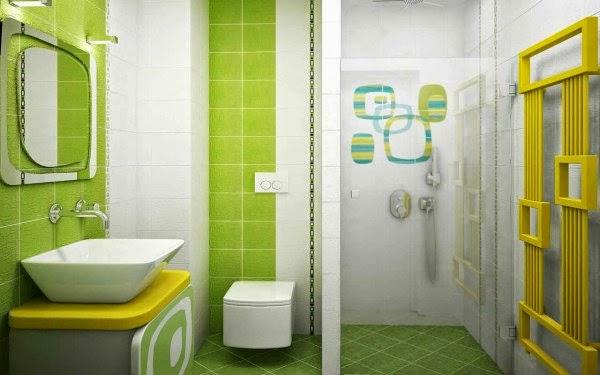 Keramik kamar mandi warna hijau yang sejuk