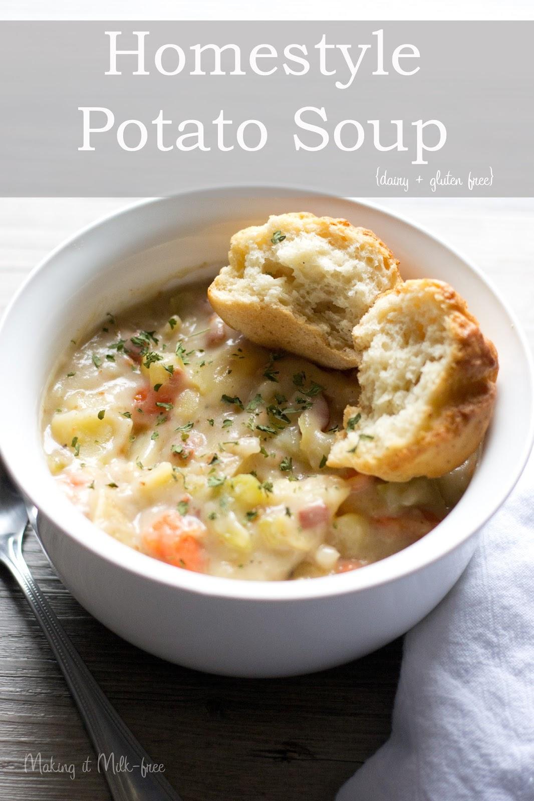 Homestyle Potato Soup {dairy + gluten free} by Making it Milk-free