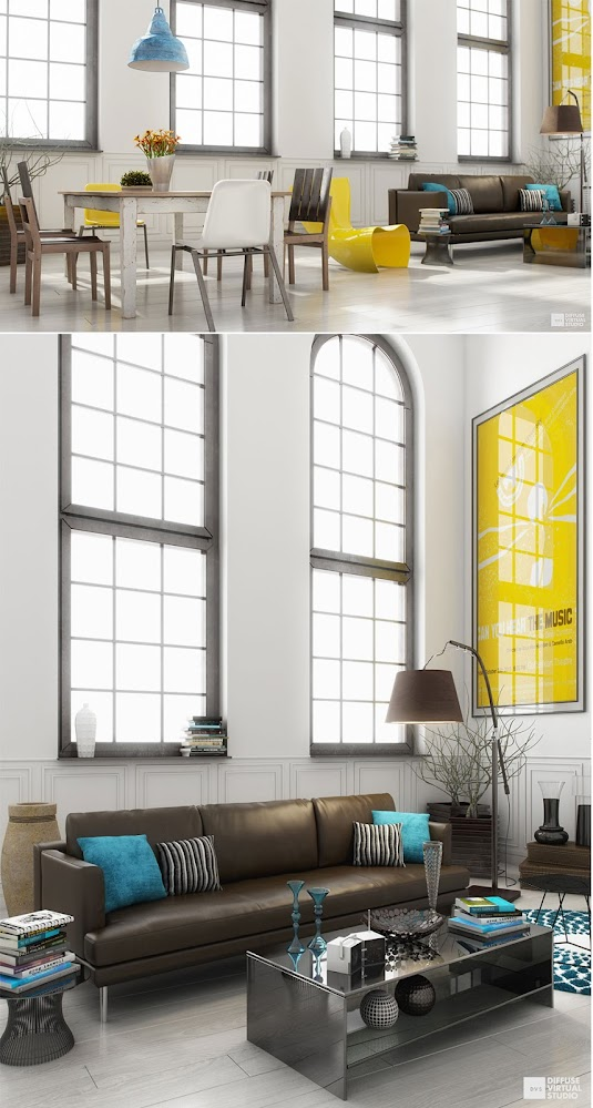 Yellow-blue-interior