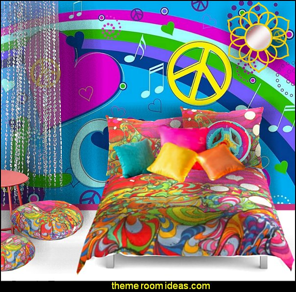 Hippy Bedrooms - 60s style theme decorating - 70s theme decorating - groovy 70's Theme Decor - Flower Power Bedrooms - 70s theme bedroom decorating - Psychedelic Tie Dye Hippie Hippy style flower power era - peace sign decor - hippie decor - Retro 60s Groovy 70s Psychedelic hippie Costumes - bohemian bedrooms -