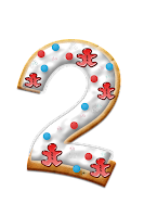 Number two graphic, decorated with icing, dots and gingerbread men