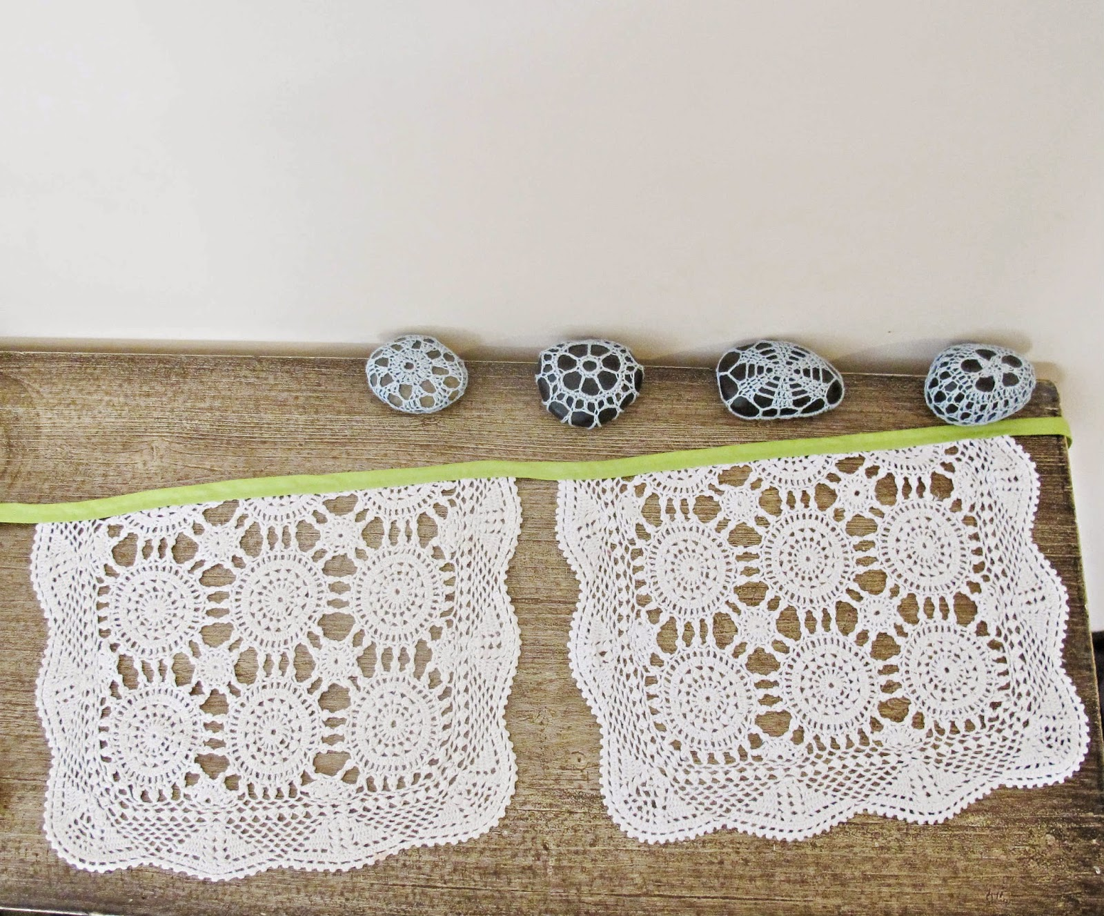 image domum vindemia doily bunting lime green citrus cream vintage