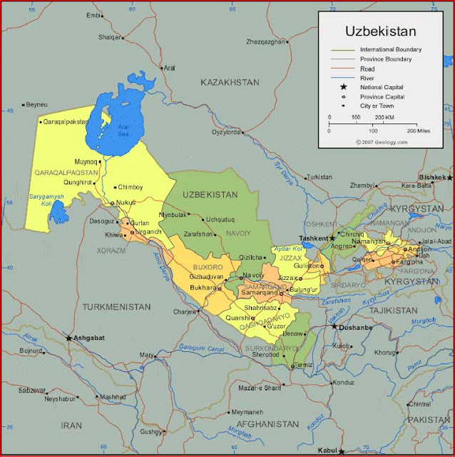 Gambar Peta Uzbekistan