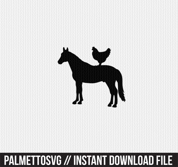 horse chicken farm animals clip art svg dxf cut file silhouette cameo cricut download