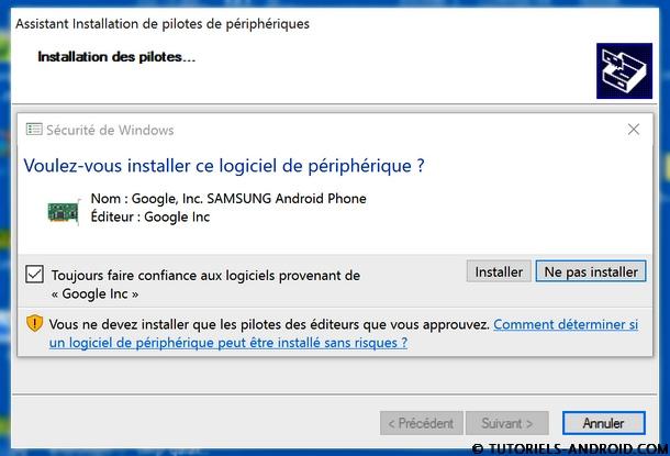 Autoriser installation logiciels Google