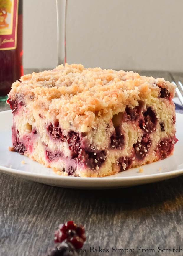 Blackberry Buckle is a delicious light cake with cinnamon, vanilla and plenty of blackberries for breakfast, brunch or dessert from Serena Bakes Simply From Scratch.