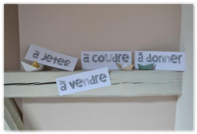"""étiquettes de tri """"à jeter"""", """"à vendre"""", """"à donner"""" et """"à coudre"""""""